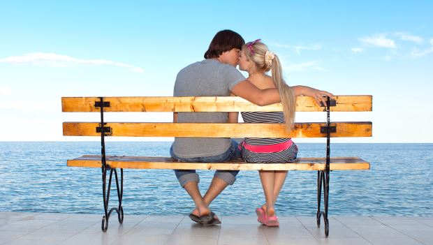 Perfect Couple Love Attraction On Bench